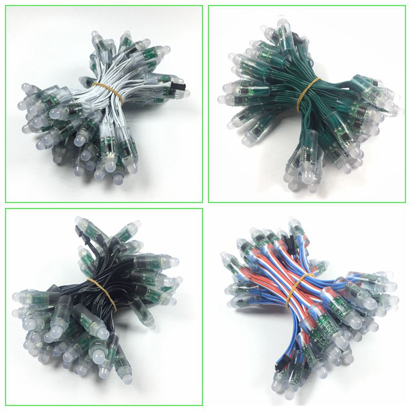 50pcs/lot DC5V/12V input WS2811 pixel module 12mm black/green Wire led string;Chrismas tree;waterproof with 3pin JST Connectors title=