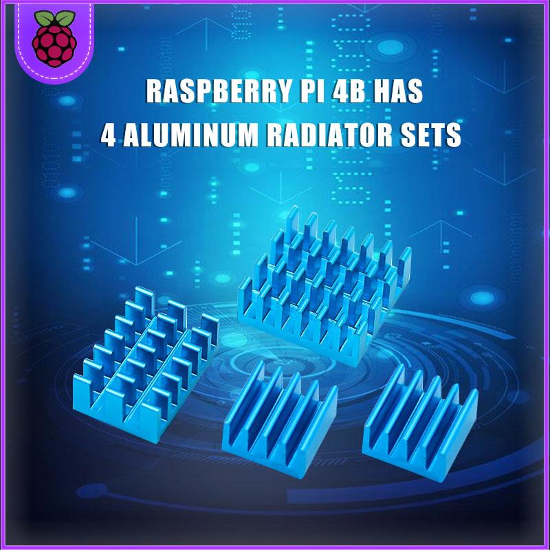 Raspberry PI 4 Disipador De Calor 4 Piezas De Cobre + Disipador De Refrigeración De Aluminio Radiador Ciego Radiador De Aleta De