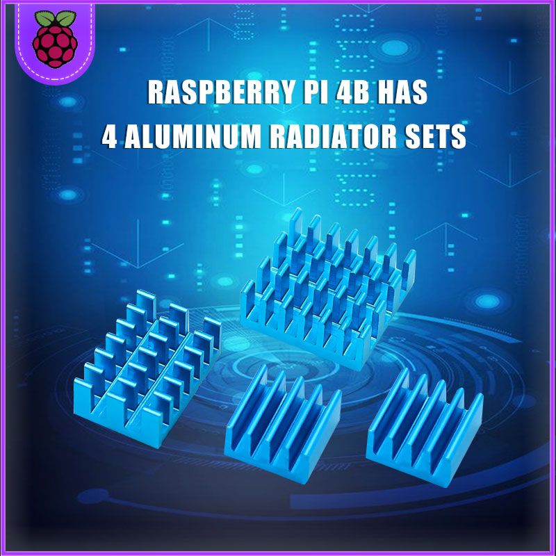Raspberry PI 4 disipador de calor 4 piezas de cobre + disipador de refrigeración de alumínio radiador radiador de aleta de ciego
