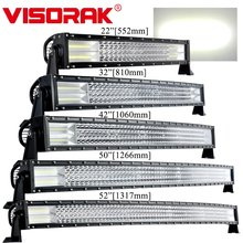 "VISORAK 22 32 42 50 52"" Inch Off Road Curved LED Light Bar 24V 12V Truck LED Bar For JEEP Tractor 4WD 4x4 SUV ATV Off Road"