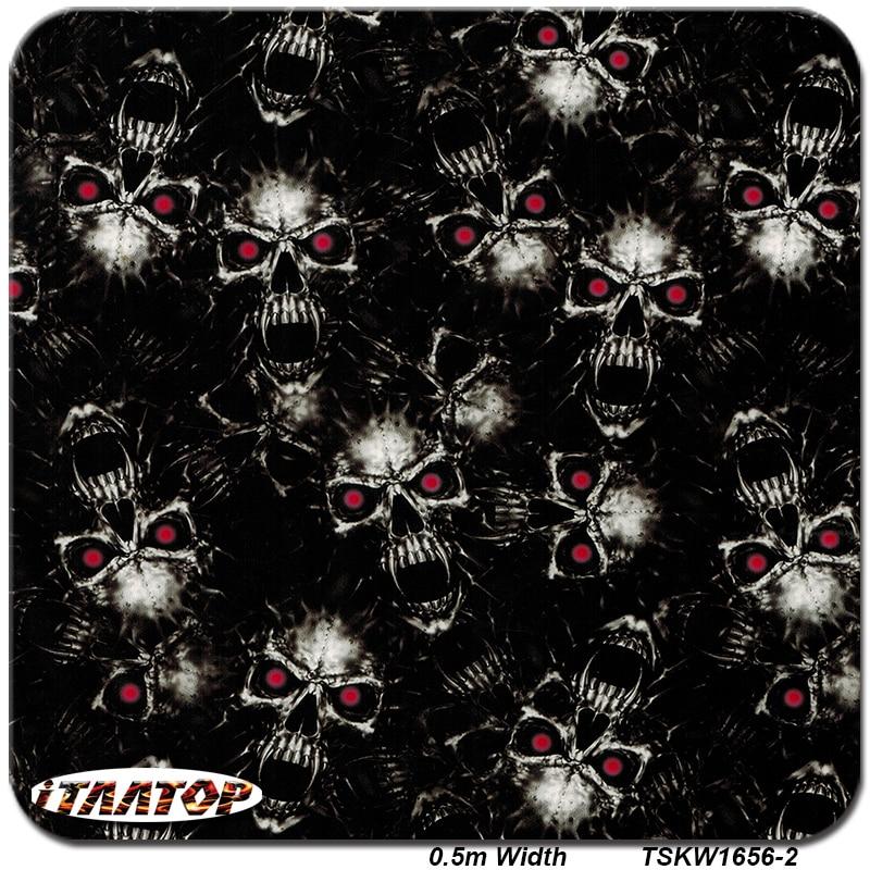 ITAATOP TSKW1656-2 0.5M * 2M Popular Skull Designs Pattern Hydro Dipping Hydrographics Film Water Transfer Printing Films
