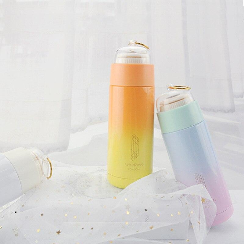 Spor ve Eğlence'ten Spor Şişeleri'de XW renkli degrade renk peri yüzük yalıtımlı fincan paslanmaz çelik açık taşınabilir şişe erkekler ve kadınlar öğrenciler çiftler hediye title=