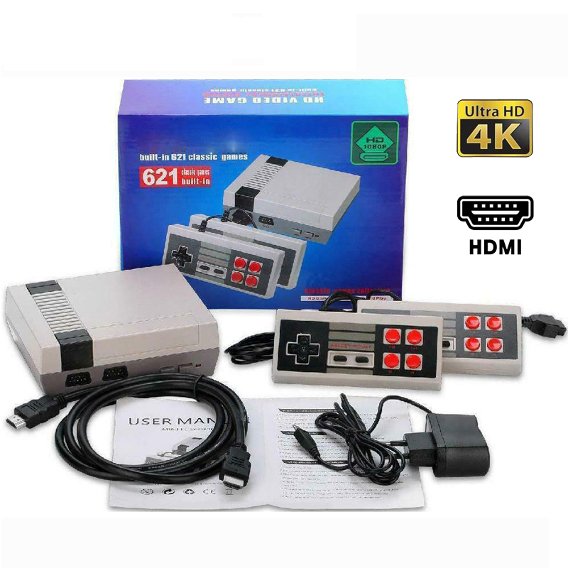 HDMI Output Mini TV Game Console 8 Bit Retro Video Game Wired Console Controller Built-In 621 Games Handheld Gaming Player