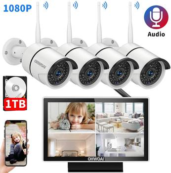 OHWOAI 8CH 1080P Wireless NVR Kit 10' LCD Monitor HD Outdoor 2MP Security IP Camera Video Surveillance wifi CCTV camera system anran 4ch hd 720p hd wifi nvr 7 lcd monitor 1 0 megapixel outdoor security wireless ip camera video surveillance system for home
