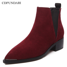CDPUNDARI Genuine Leather Ankle boots for women heels boots Ladies spring shoes woman black Wine red showfun genuine leather shoes woman grit cowhide solid square heels boots