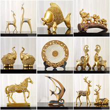 Chinês feng shui cavalo dourado elefante estátua decoração sucesso casa artesanato sorte riqueza estatueta enfeites de mesa escritório presente
