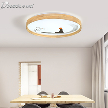 18W LED Modern Ceiling Light Round Wooden Lamp Living Room Lighting Fixture Surface Mount Flush Panel Remote Control