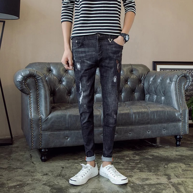 Autumn Black Ankle-length Jeans Men Korean-style Slim Fit Teenager With Holes 9 Points Skinny Pants Fashion Man Stretch Pants