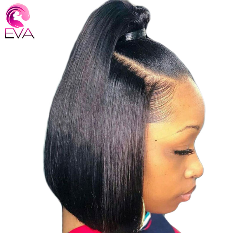 Eva Hair Short Bob Straight 360 Lace Frontal Human Hair Wigs Pre Plucked With Baby Hair Brazilian Remy Hair Wigs For Black Women
