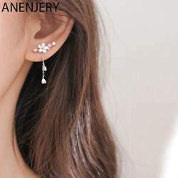 ANENJERY Sweet Pink Cherry Blossom Shell Drop Tassel Earrings for Women Girls Party Fashion Jewelry Gifts 2020 S-E1248