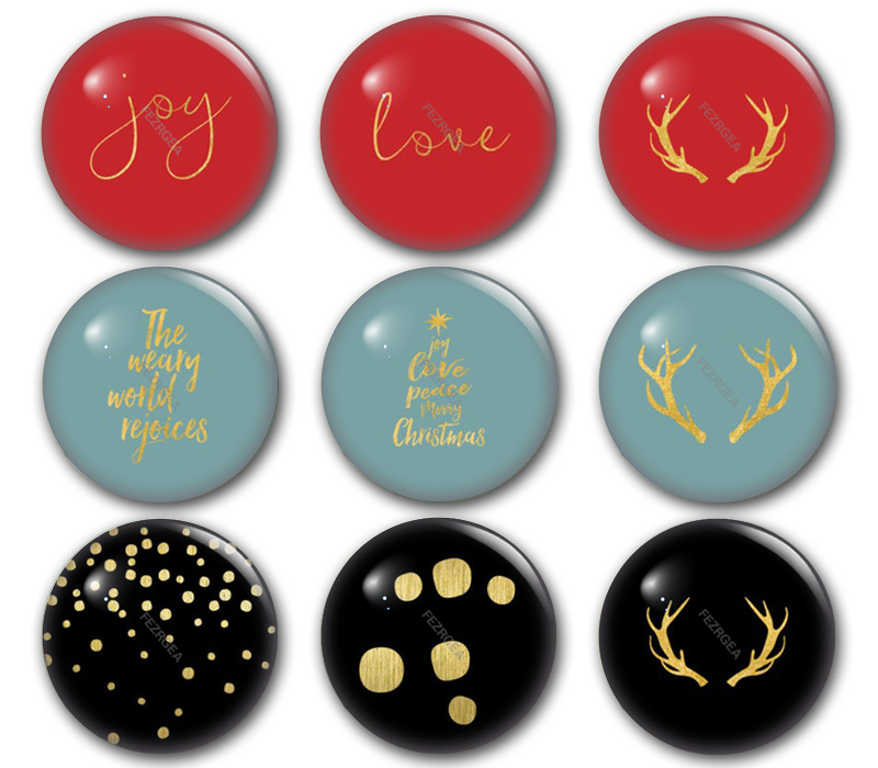 Merry And Bright Glass Cabochon,Antlers Spots Christmas Happy New Year Round Photo Glass Cabochon Demo Flat Back Making Findings