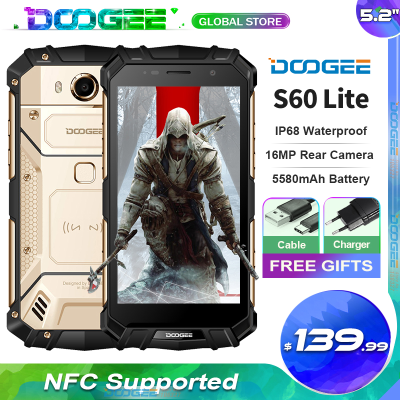 Doogee S60 Lite IP68 Waterdichte Robuuste Telefoon MT6750T Octa Core 4Gb Ram + 32Gb Rom Android 7.0 5.2 inch Nfc Smartphone