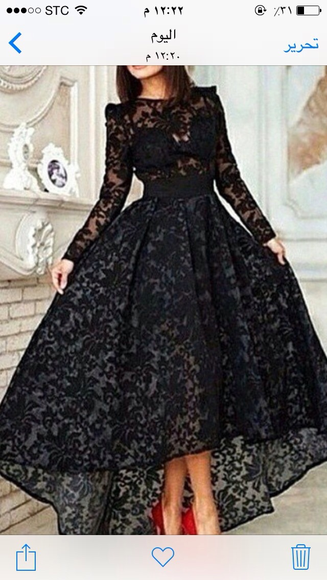 2018 Elegant Black Bateau Neckline Long Sleeve High Low Lace Evening Formal Gown robe de soiree mother of the bride dresses