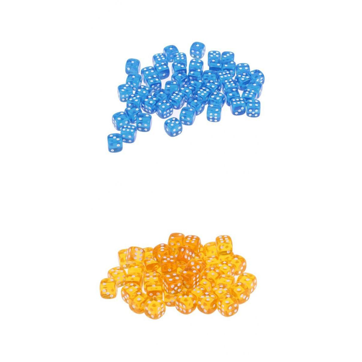 100x D6 Dice Polyhedral Acrylic for DND RPG MTG Table Board Game Blue,Orange