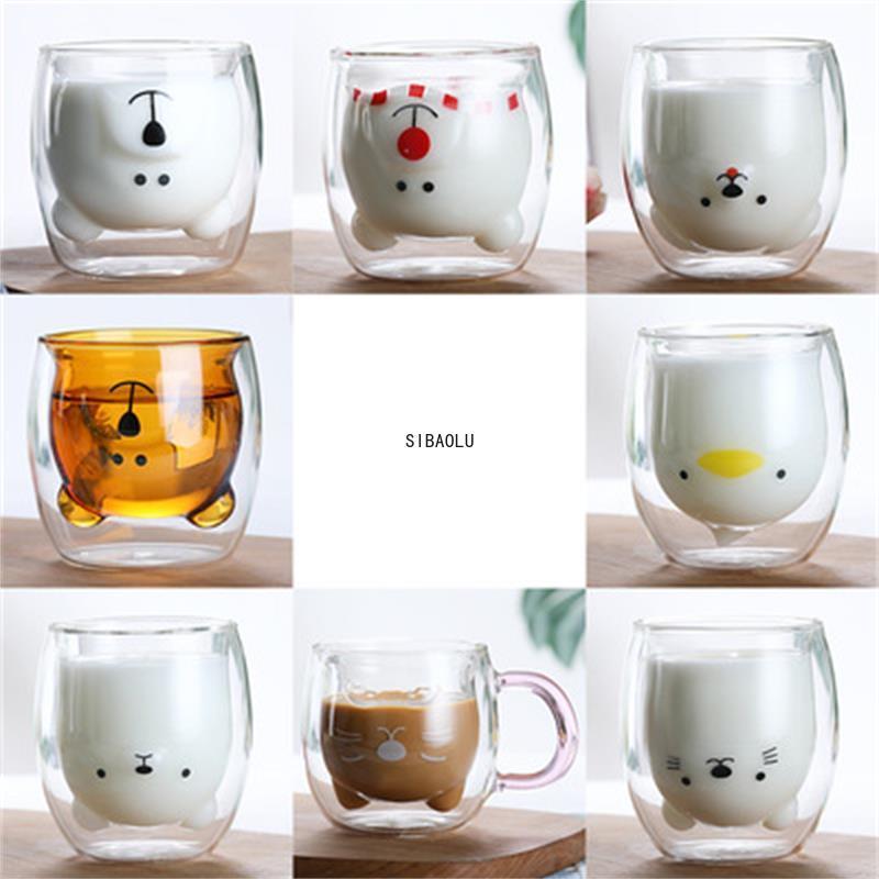 Glass Mugs Double Wall Glass Mug, Bear Cat Dog Animal Double-layer Glass Mug Coffee Cup, Christmas Mug Gift ,Cute Milk Cup