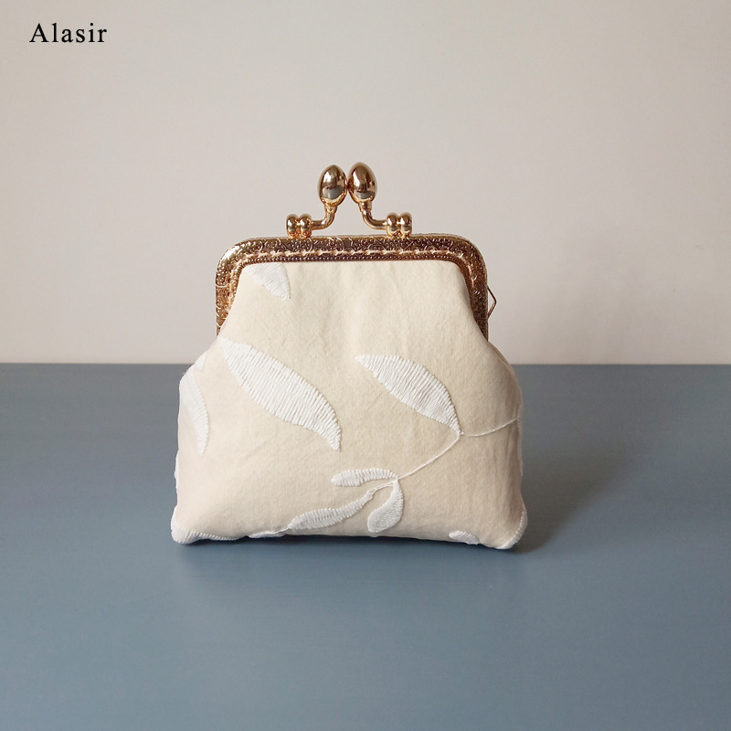 Alasir Custom Handmade Coin Purse Small Lace Flower Wallet  Cotton Fabric Frame Bag Women Handbags White Money Bag