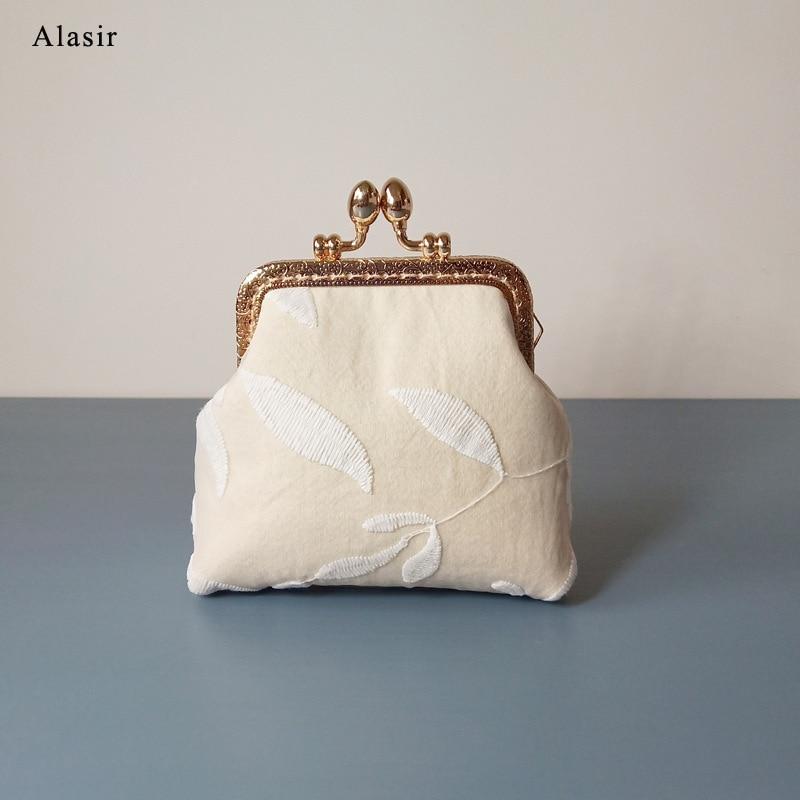 Alasir Custom Handmade Coin Purse Small Lace Flower Wallet  Cotton Fabric Frame Bag Women Handbags White Money Bag