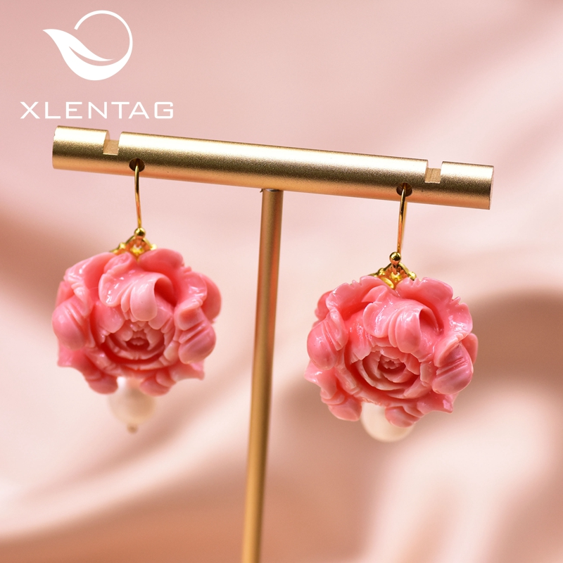 XlentAg Original Design Coral Flower Drop Earrings Fresh Water Pearl Vintagae Jewellery For Women Accessories Girls Party GE0927