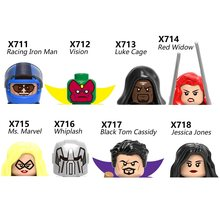 Superhero Jessica Jones Black Tom Cassidy Red Widow Whiplash Vision Luke Cage MS MARVEL Blocks Mini Action Figure Toy MiniFigure(China)