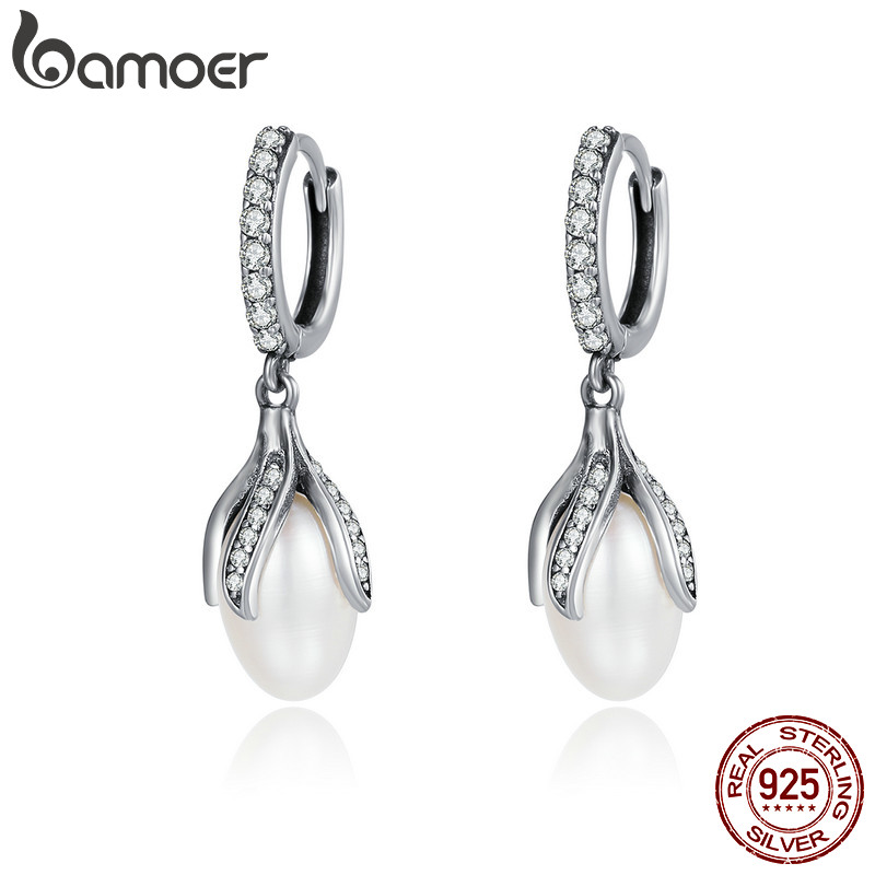 BAMOER Authentic 925 Sterling Silver Blooming Flower Petal Freshwater Pearl Drop Earrings for Women Luxury Silver Jewelry SCE259(China)