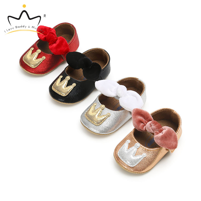 New Soft PU Leather Crown Bowknot Baby Shoes Princess Girls Infant Toddler Baby Girl Shoes Non Slip Cute Big Bows First Walkers