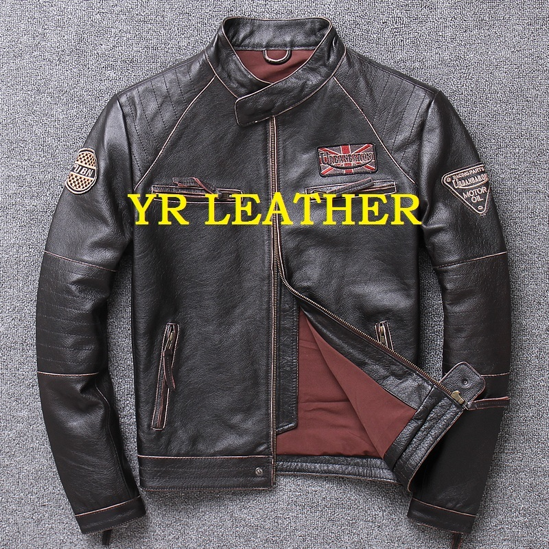 Free Shipping.fashion Motor Biker Genuine Leather Jacket.100% Cowhide Coat.mens Plus Size Slim Leather Jackets,Popular Sales