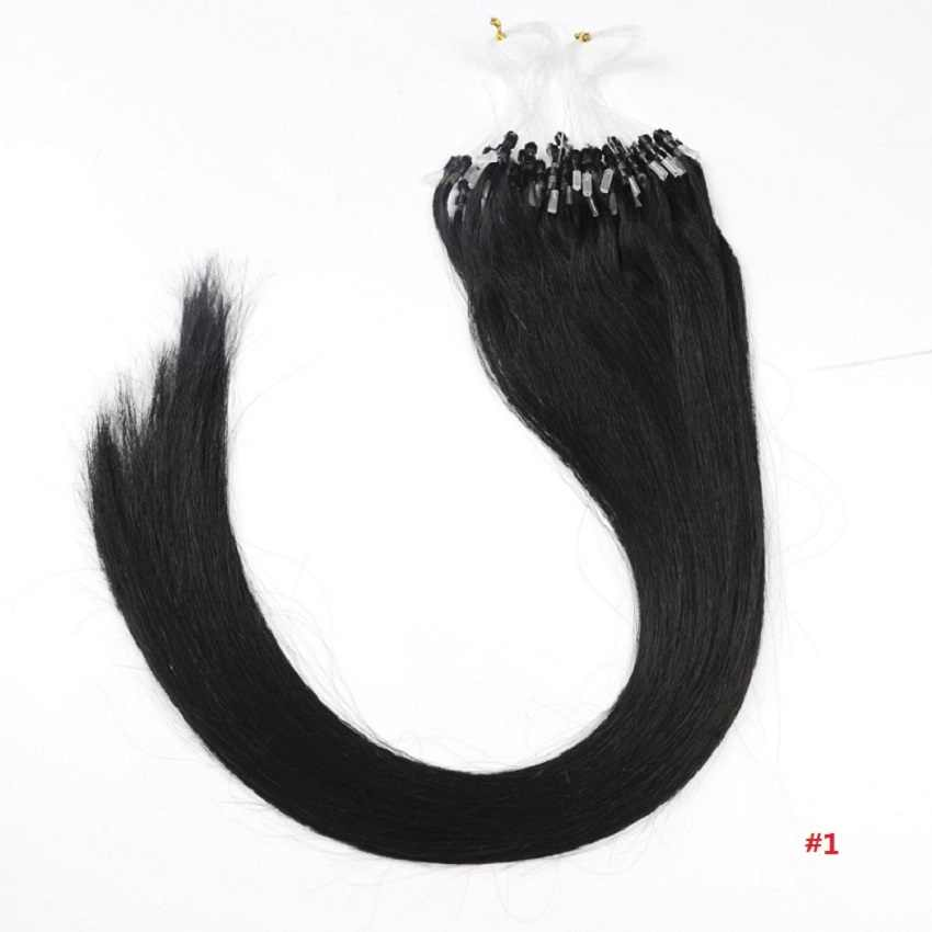 """ZZHAIR 0.4g-0.7g 16""""-24"""" Machine Made Remy Hair Micro Loop Ring 100% Human Hair Extension 100s/pack 40g-70g Micro Bead Links"""