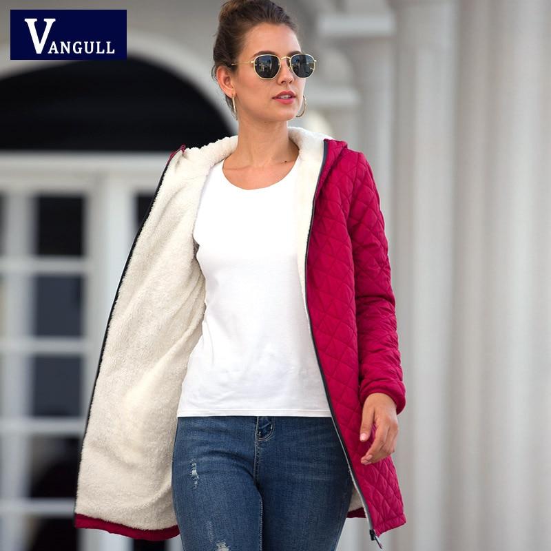 Vangull Long   Parkas   Basic Jackets Female Women Winter Plus Velvet Lamb Hooded Coats Autumn 2019 New Cotton Winter Jacket Outwear