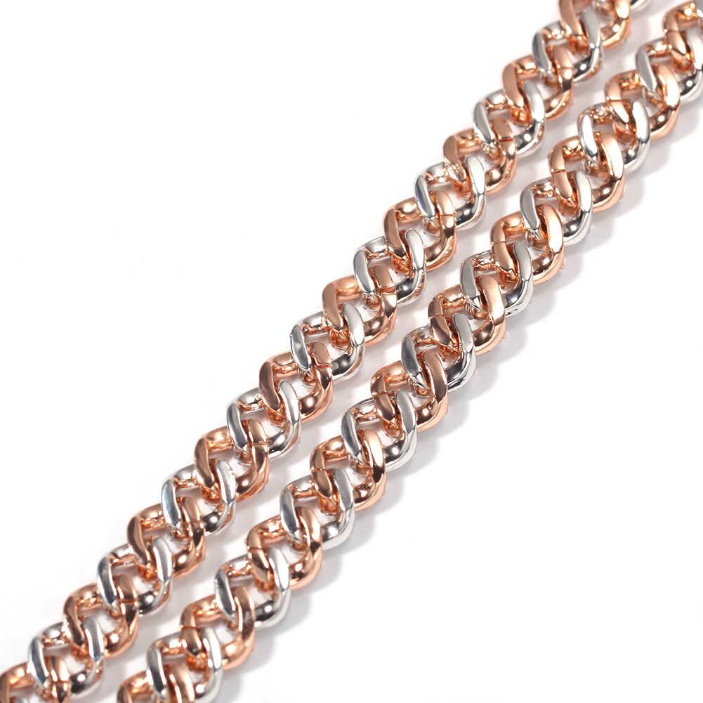 UWIN 9mm Iced Out choker damski srebrny/różowe złoto kubański Link z białą i różową cyrkonią łańcuszek biżuteria