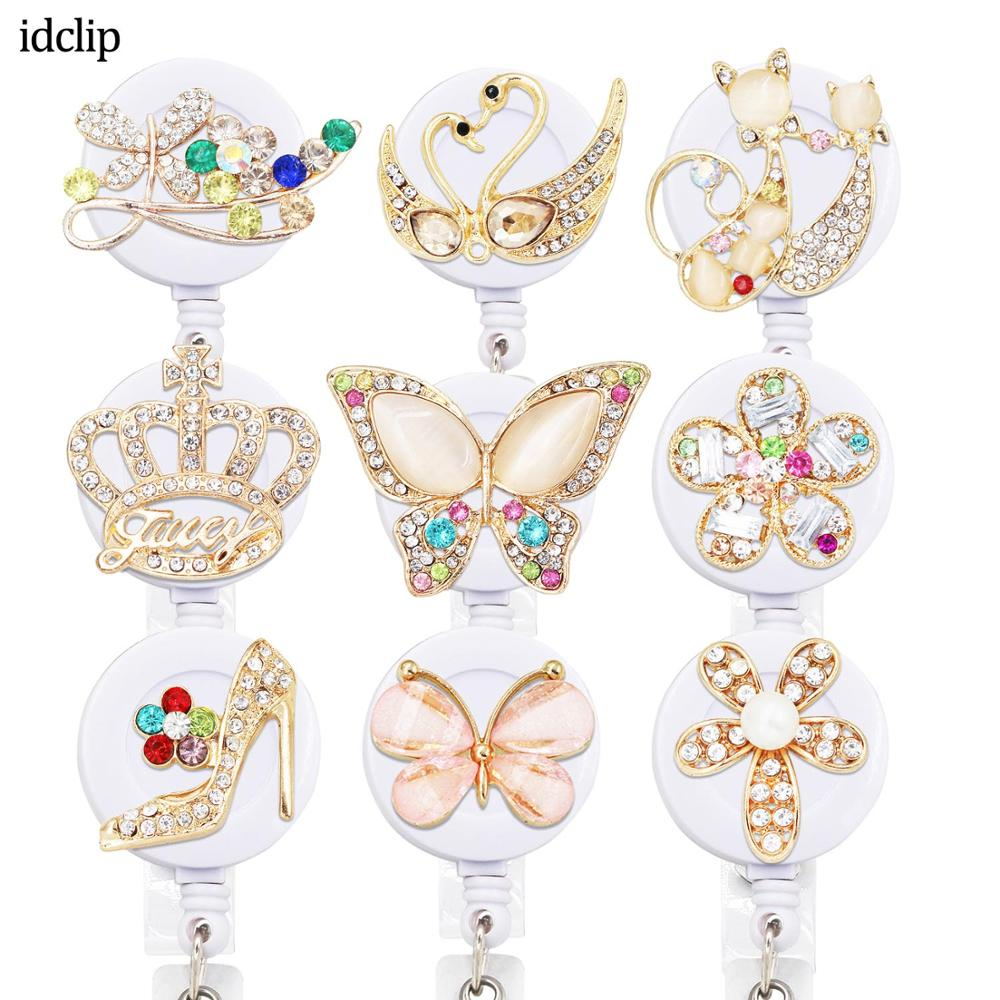 Idclip Animal ID Retractable Badge Holder With Alligator Clip Retractable Cord ID Badge Reel Fox Dress Girl Horse Style