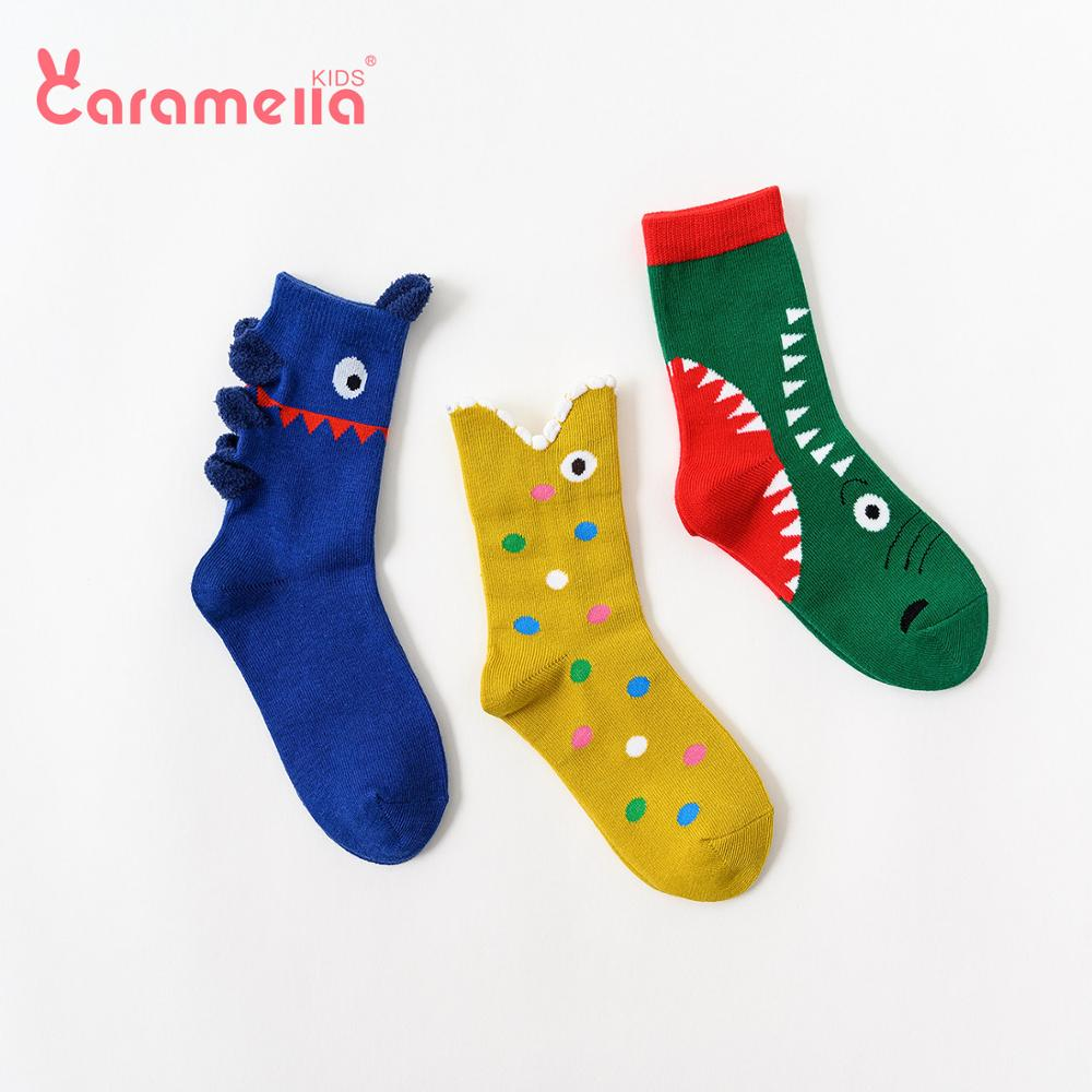 Caramella 3Pairs New Winter Fish Kids Socks Baby Boys Cool Combed Cotton Short Socks Huge Mouth Fish Cartoon Colorful Hosiery