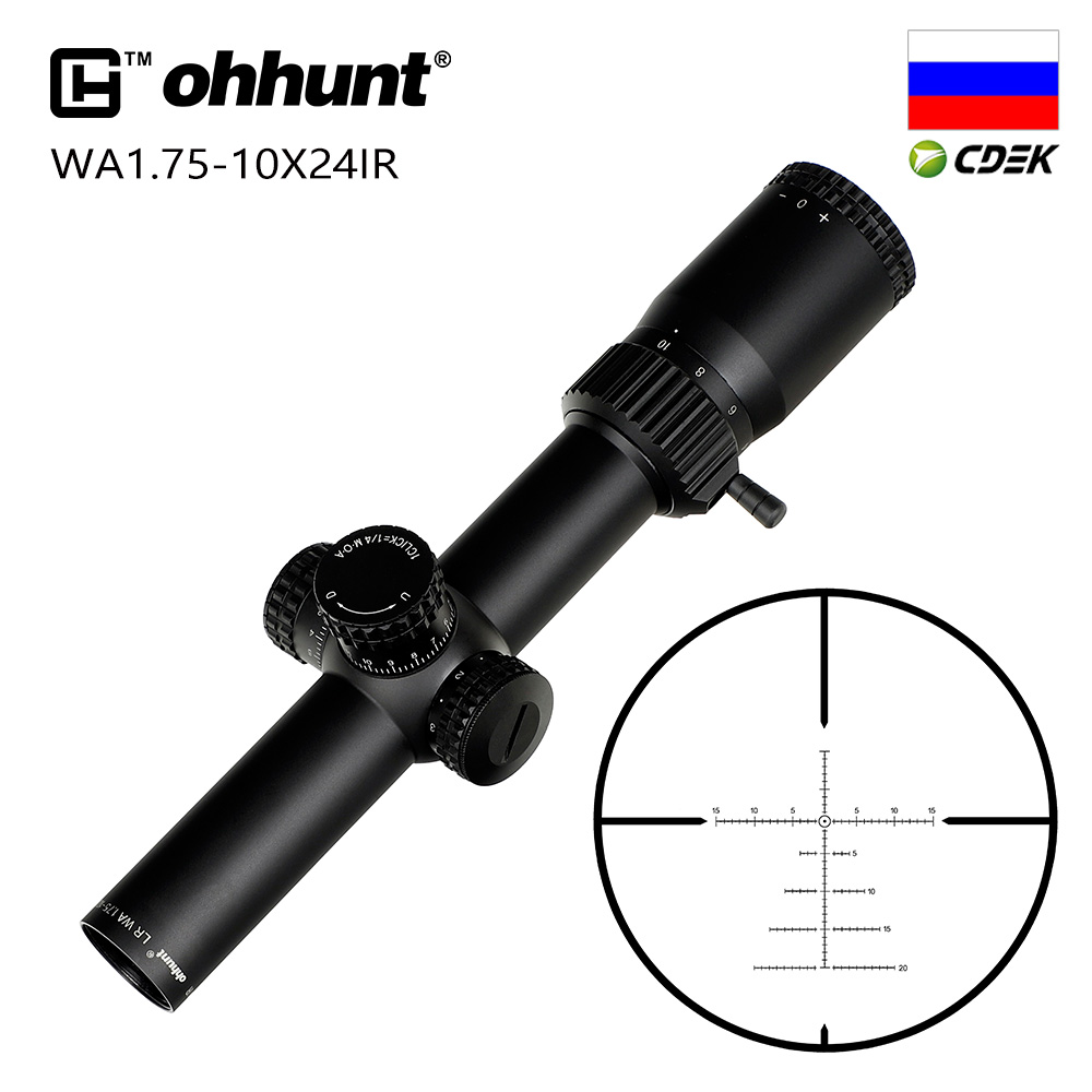 Tactical Ohhunt LR WA 1.75-10X24 IR Compact Hunting Scope Glass Etched Reticle Red Illumination Turrets Lock Reset Riflescope