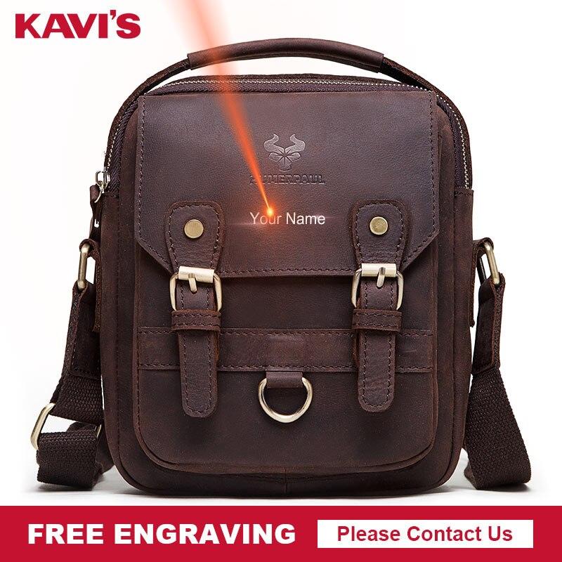 KAVIS Cowhide Genuine Leather Messenger Bags Men Handbag For Ipad Bolsas Travel Brand Design Crossbody Shoulder Bag Your Name