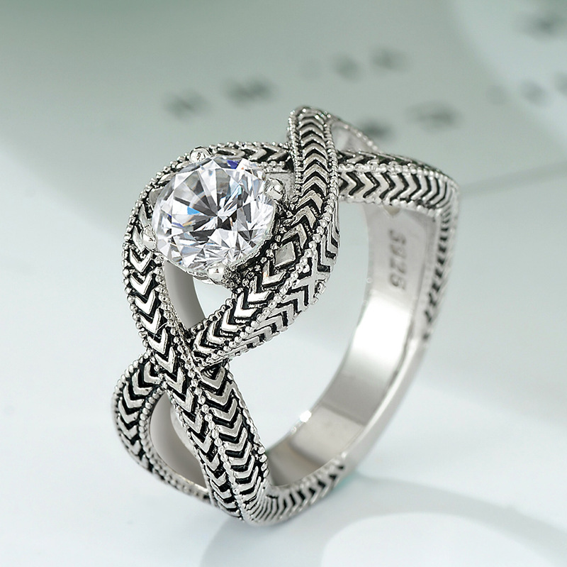 New Exquisite Simple Personality 925 Retro Silver Jewelry Twist Thai Silver  Female Infinity Ring Endless Love Men Party Ring