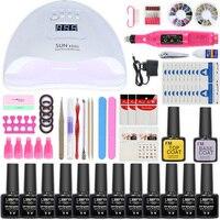 Kit per unghie 54/24W lampada per unghie 12/6 colori Gel UV Kit per smalto per unghie Set di strumenti per Manicure set di trapani per unghie Base superiore