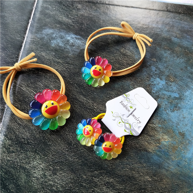 1/2PCS New Cute Colorful Sunflower Cartoon Headwear Kids Elastic Hair Bands Children Ropes Girls Accessories Baby Headdress