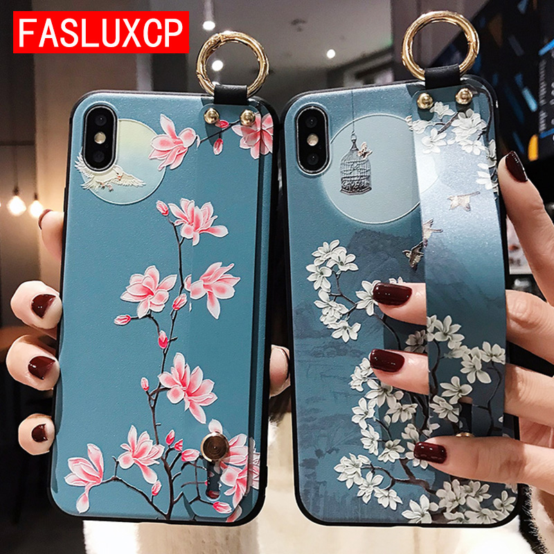 Rose Wristband Phone Case for Etui iPhone 11 Pro Soft TPU Flower Phone Holder Cover for iPhone 7 8 SE 6 Plus X XS XR XSMax Funda 2