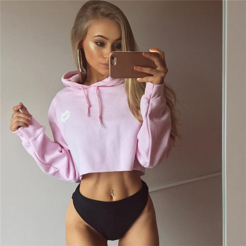 Women Sweatshirt Jumper Pink Color Cute Print Sweatshirt Tops Casual Long Sleeve Hooded Pullover Sweatshirts W1