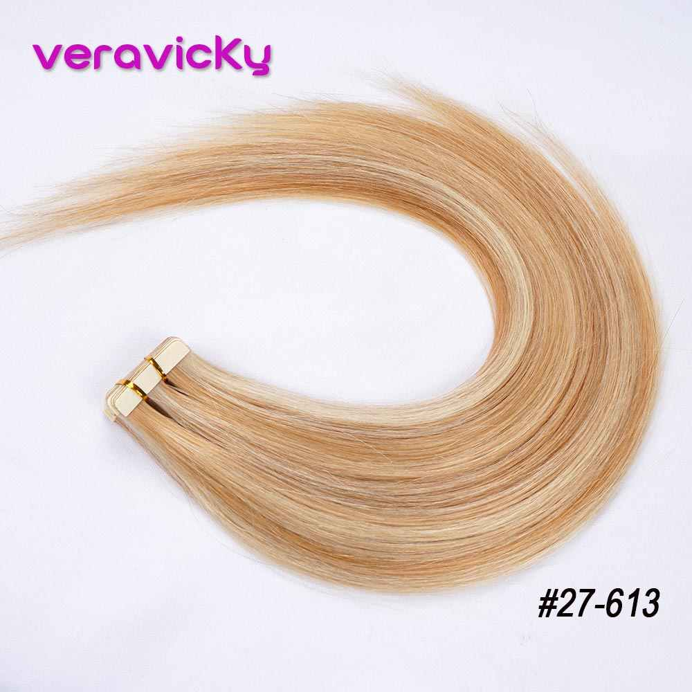 Tape in Remy Human Hair Extensions Balayage Skin Weft Seamless Natural Real European Hair Adhesive Extension Samples Salon Hair