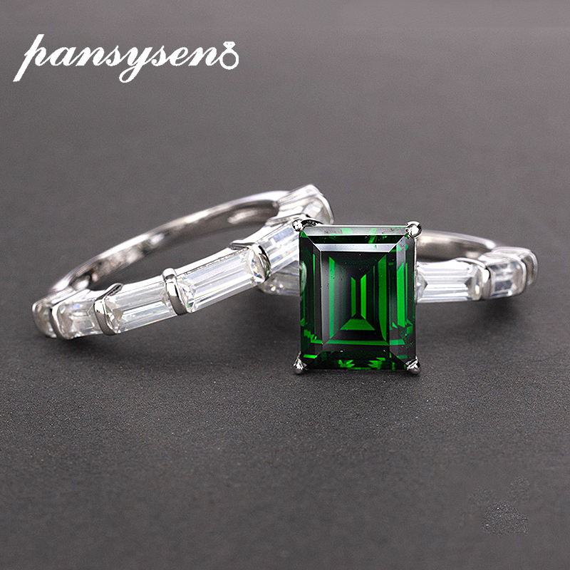 PANSYSEN Brand Real 925 Sterling Silver Rings For Women 8x10 MM  Natural Emerald Gemstone Fine Jewelry Wedding Engagement RingRings   -