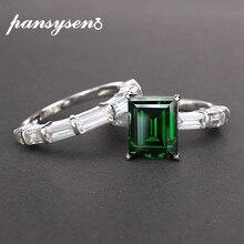 PANSYSEN marka prawdziwe 925 Sterling Silver 8x10MM Emerald utworzono moissanite pierścienie z kamieniami szlachetnymi rocznica ślubu Fine Jewelry Ring