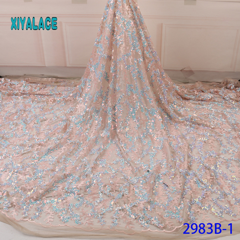 African Lace Fabric 2019 High Quality Sequins French Organza Lace Fabric Luxury New Arrival Lace Fabrics For Wedding YA2983B-1