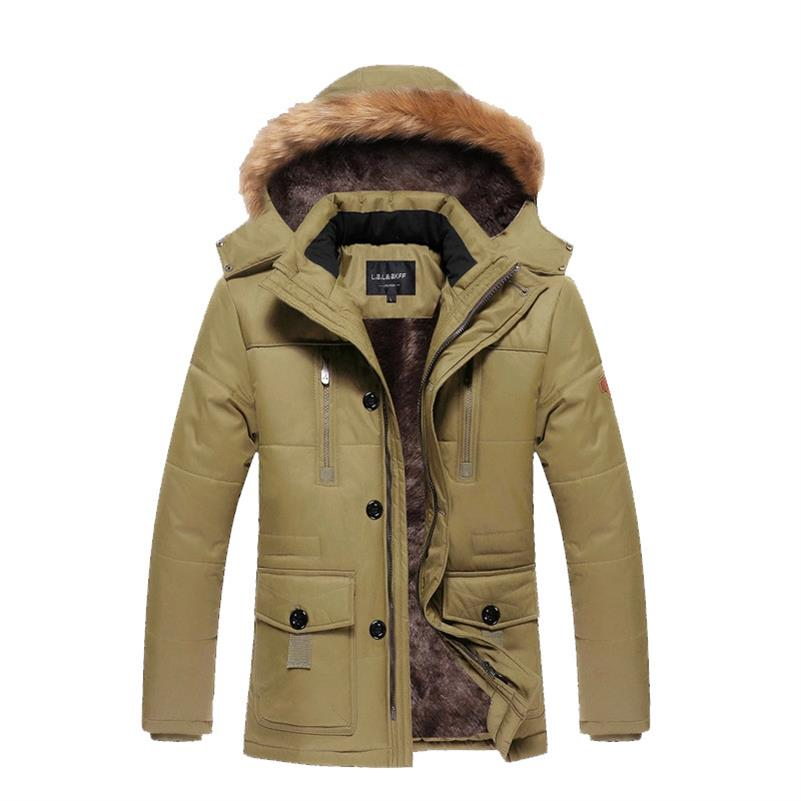 New 2019 Hot Men's Winter Jacket Warm Wadded Jacket Casual Thick Cotton Padded Man Coat Hood Middle Age Campera Plus Size M-5XL
