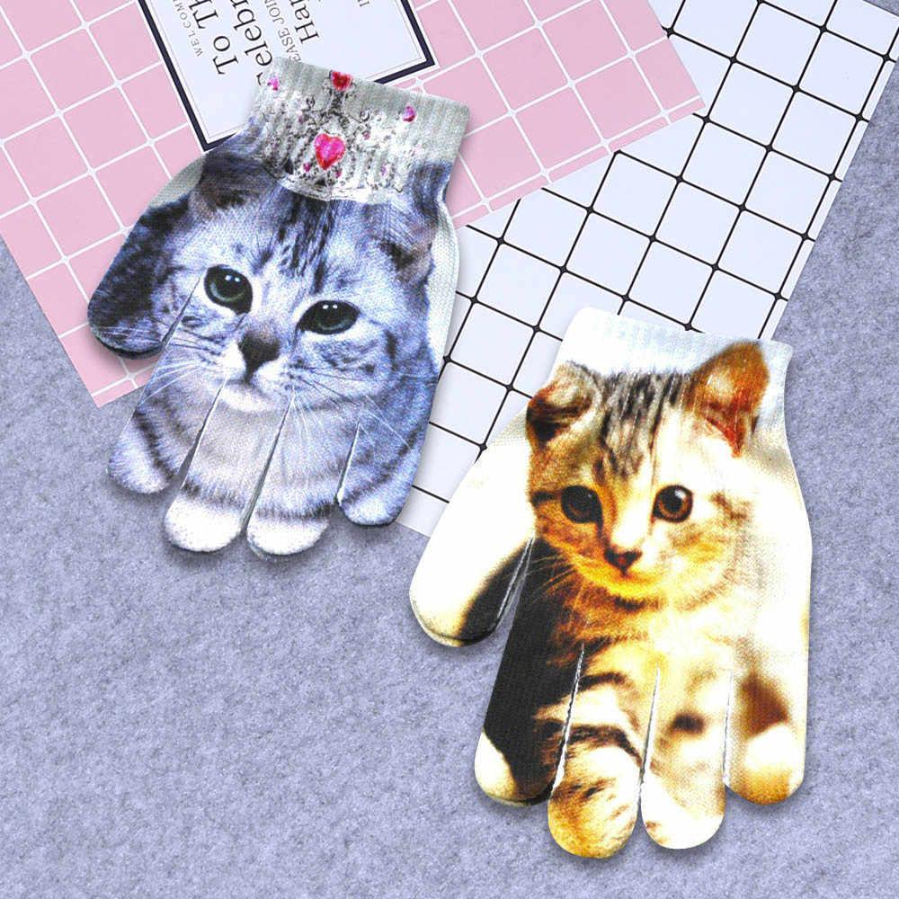 Kinder Kinder Winter Warme 3D Tier Druck Gestrickte Kitty Pet Nette Winter Handschuhe Taktische Guantes Warme Weiche Handschoenen C30107