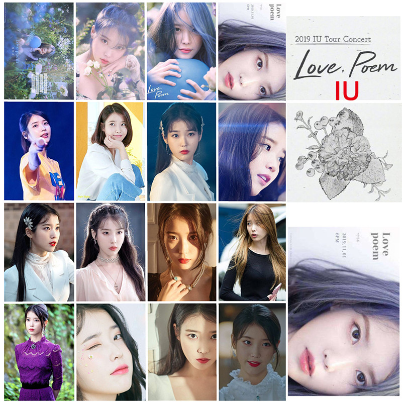 16 Pcs/ Set Kpop IU Ji Eu New Album Love Poem Photo Card Poster Photocard Tour Concert Self Made Card Uaena Fans Gift Collection(China)