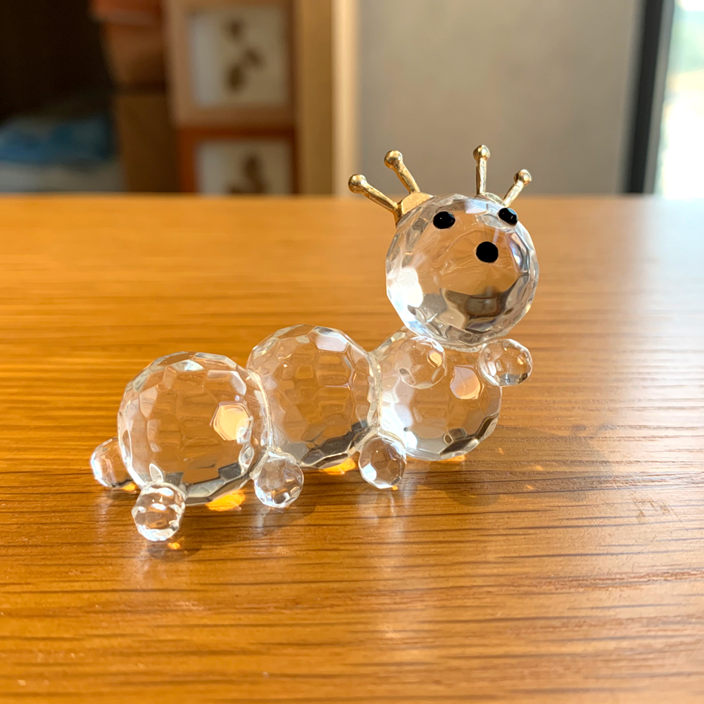 Crystal Glass Cute Caterpillar Figurines Ornament Glass Animal Paperweight Collection Home Table Decor Xmas Kids Favor Gifts