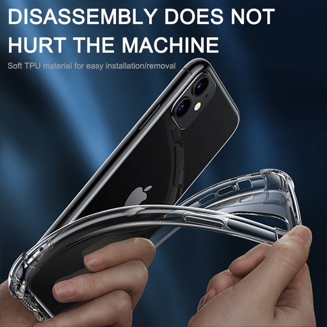 Luxury Transparent Shockproof Silicone Case For iPhone 11 X Xr Xs Max Case 12 11 Pro Max 8 7 6s Plus SE Case Silicone Back Cover 6