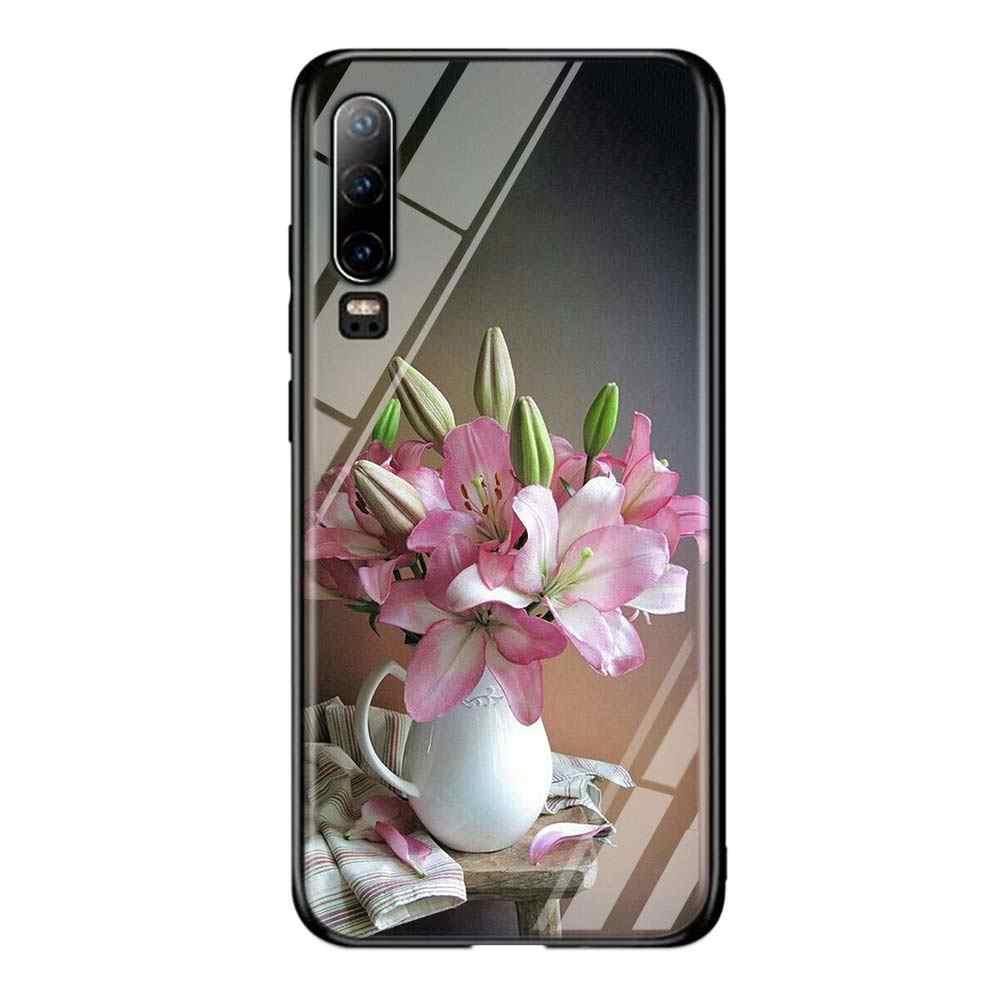 Pembe Çiçek Şakayık Huawei P Akıllı Z Artı 2019 P30 P20 Pro P10 P9 P8 Lite Artı Süper Parlak parlak telefon kılıfı Kapak