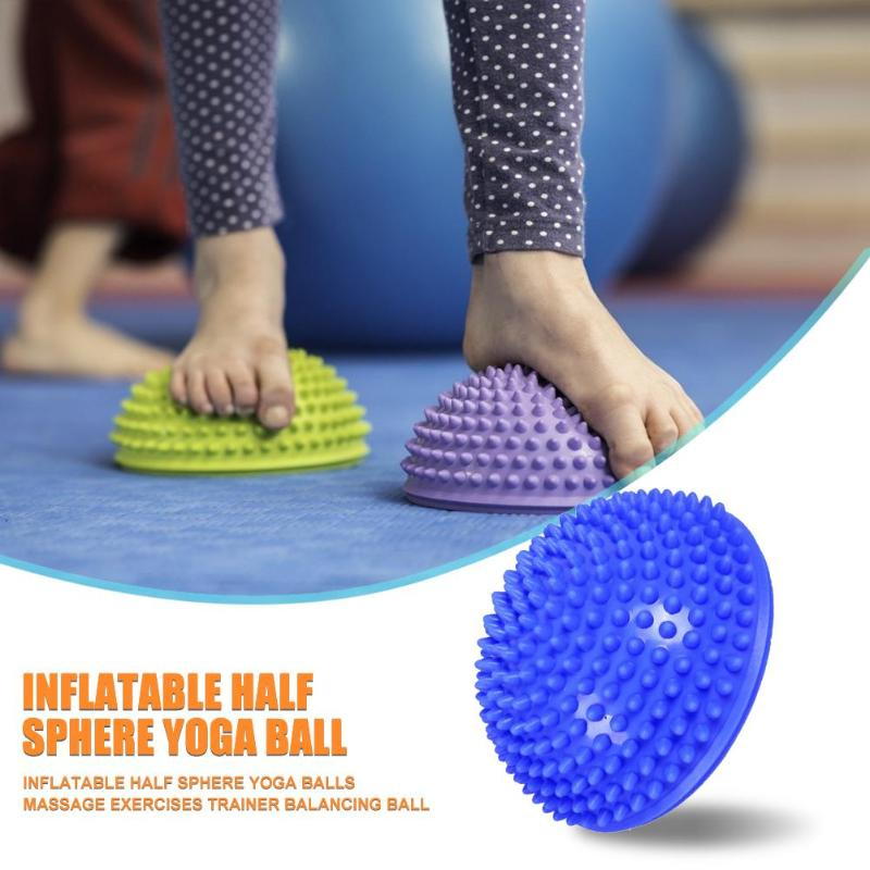 Yoga Balls Multi-function Portable Yoga Massage Inflatable Half Ball Point Stepping Stones Exercise Fitness Ball
