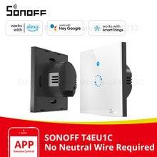 Itead SONOFF T4EU1C nötr tel gerekli anahtarı Wifi akıllı duvar dokunmatik ışıklı anahtar tek yangın tel anahtarı e Welink kontrol